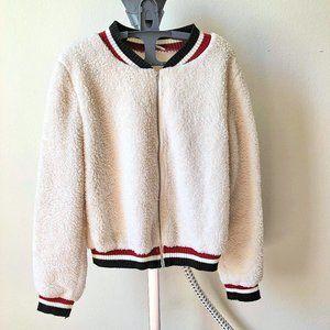 BEAR DANCE Fluffy Varsity Style Jacket